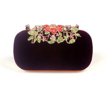 Women Bags Velvet Clutch Crystal Detailing Wedding Event Party - RED