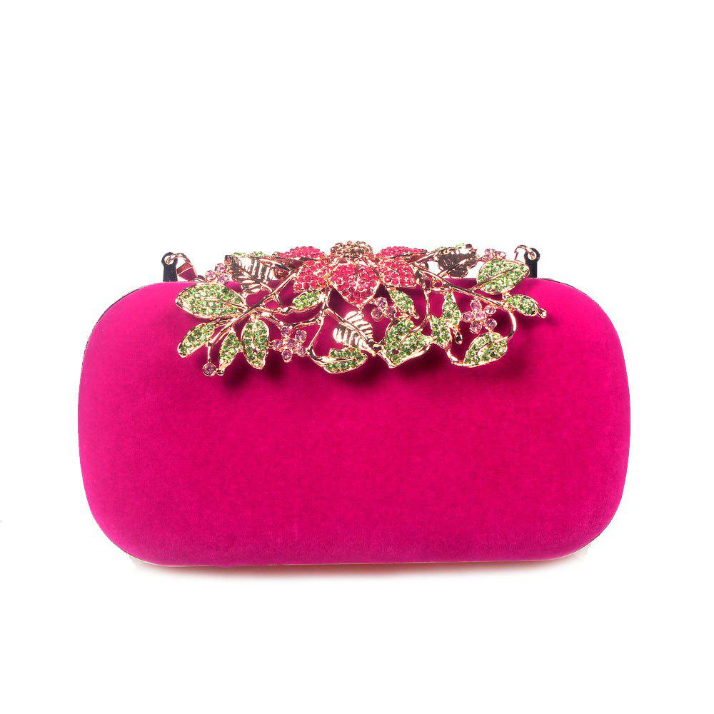 Women Bags Velvet Clutch Crystal Detailing Wedding Event Party - FUCHSIA