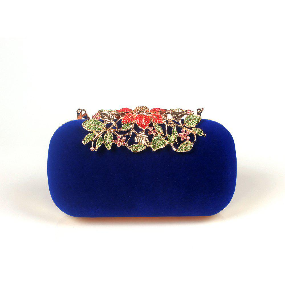 Women Bags Velvet Clutch Crystal Detailing Wedding Event Party - BLUE
