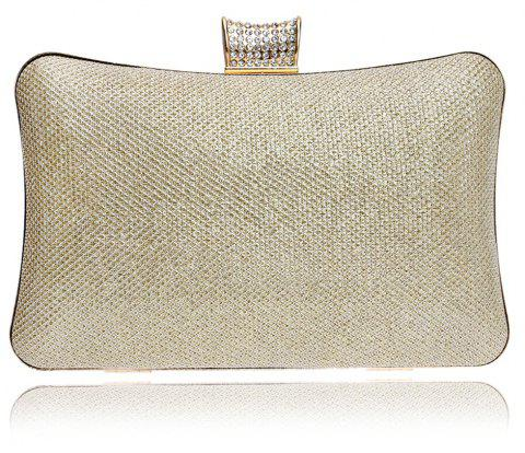 Women PU Bags Leatherette Evening Bag Buttons Crystal Detailing Wedding Event Party - CHAMPAGNE