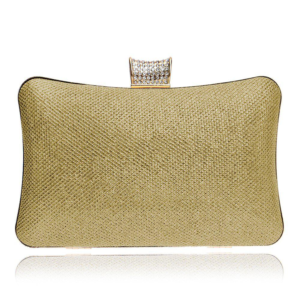 Women PU Bags Leatherette Evening Bag Buttons Crystal Detailing Wedding Event Party - GOLDEN