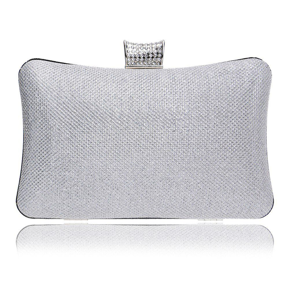 Women PU Bags Leatherette Evening Bag Buttons Crystal Detailing Wedding Event Party - SILVER
