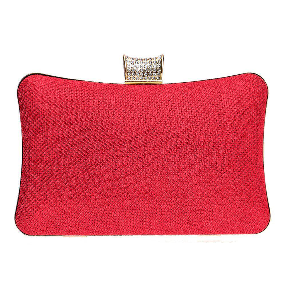 Women PU Bags Leatherette Evening Bag Buttons Crystal Detailing Wedding Event Party - RED