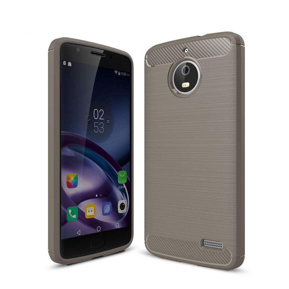 Case for Motorola Moto E4 Luxury Carbon Fiber Anti Drop TPU Soft Cover EU Version - GRAY