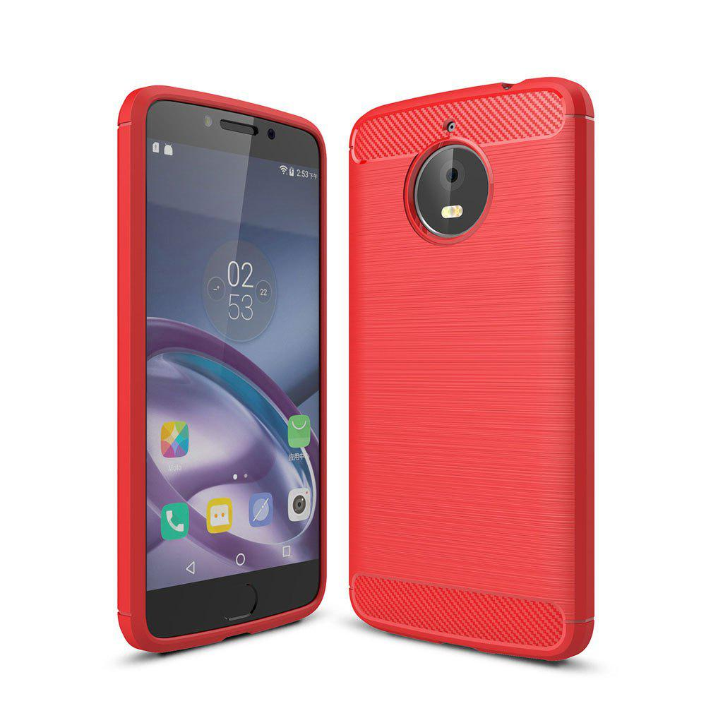 Case for Motorola Moto E4 Plus Luxury Carbon Fiber Anti Drop TPU Soft Cover EU Version - RED