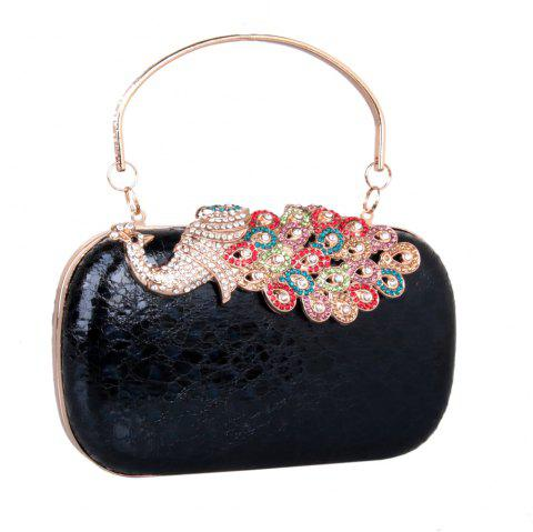 Women PU Leatherette Clutch Bag Rhinestone MiniSpot Wedding Event Party Formal - BLACK