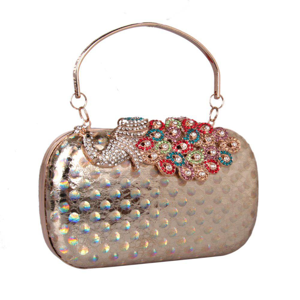 Women PU Leatherette Clutch Bag Rhinestone MiniSpot Wedding Event Party Formal - GOLDEN