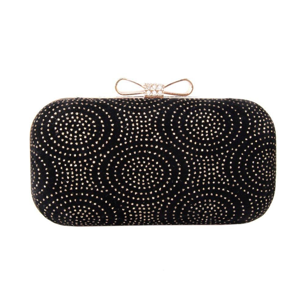 Women Velvet Minaudiere Bag Rhinestone Bow Metal Chain MiniSpot Wedding Event Party - BLACK GOLD