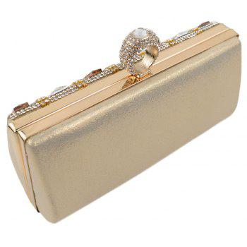 Women Bags Glasses PU Evening Bag Buttons Crystal Detailing Wedding Event Party - GOLDEN