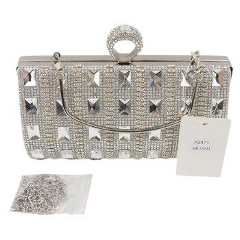 Women Bags Glasses PU Evening Bag Buttons Crystal Detailing Wedding Event Party - SILVER