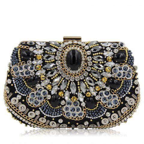 Women's Bags Glasses Satin Evening Bag Beading Crystal Detailing Wedding Event Party Black - BLACK