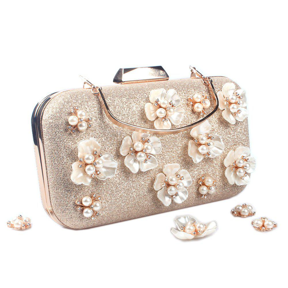 Women's Handbag Beading Pearl Flower Elegant Fashion Evening Bag - GOLDEN