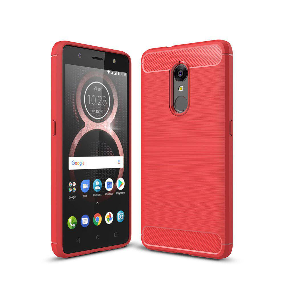 Case for Lenovo K8 Luxury Carbon Fiber Anti Drop TPU Soft Cover - RED