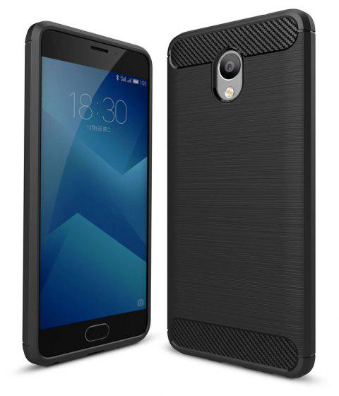 Case for Meizu M5 Note Luxury Carbon Fiber Anti Drop TPU Soft Cover - BLACK