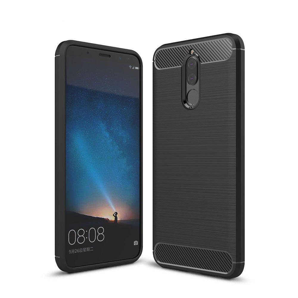 Case for Huawei Mate 10 Lite / Maimang 6 Luxury Carbon Fiber Anti Drop TPU Soft Cover - BLACK