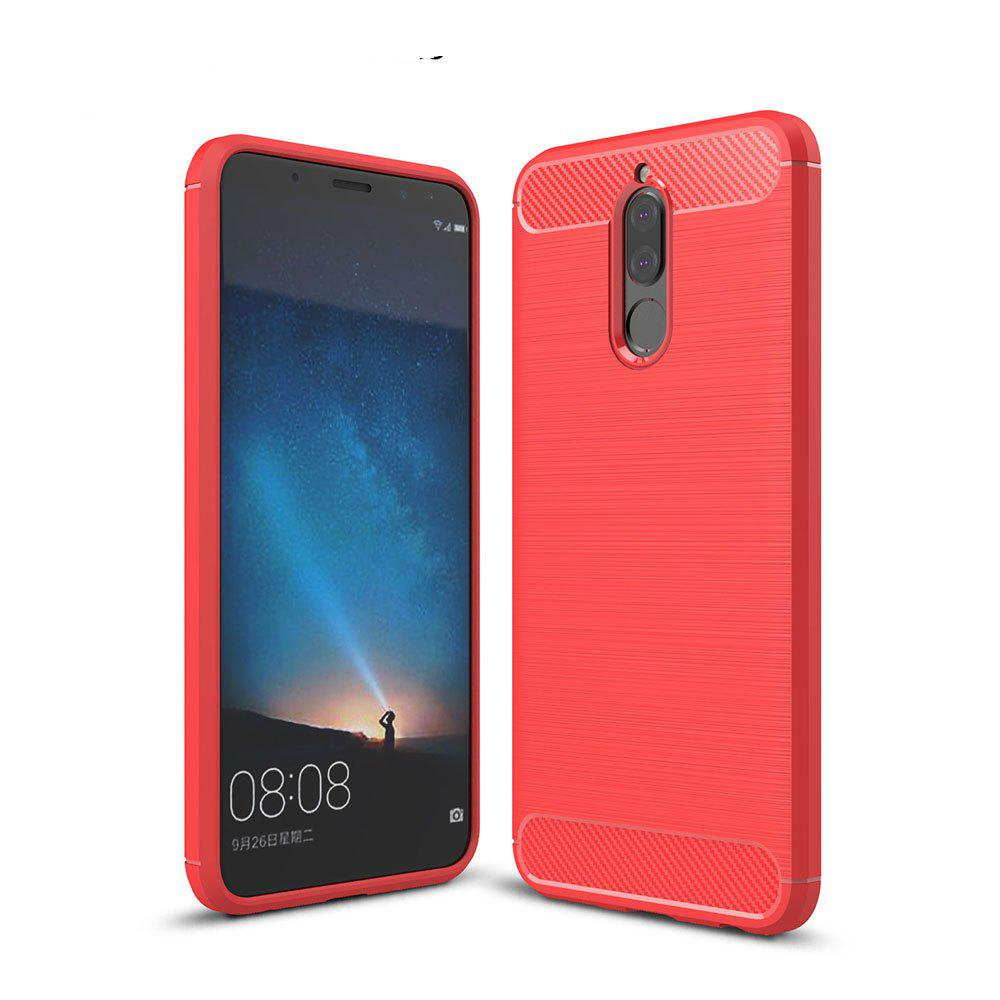 Case for Huawei Mate 10 Lite / Maimang 6 Luxury Carbon Fiber Anti Drop TPU Soft Cover - RED