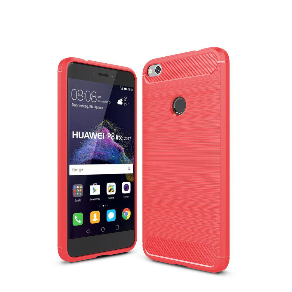 Case for Huawei P8 Lite 2017 / Honor 8 Lite Luxury Carbon Fiber Anti Drop TPU Soft Cover - RED