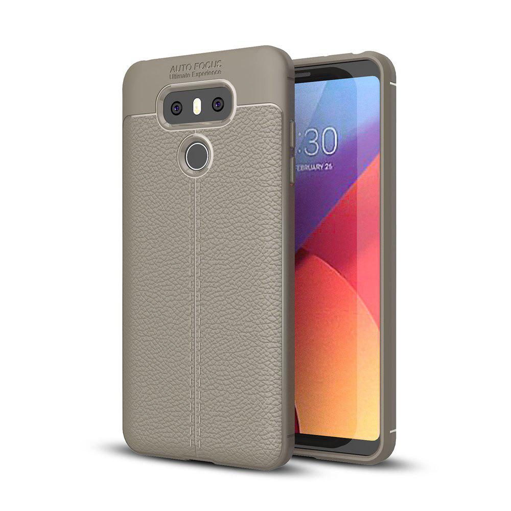 Shockproof Case for LG G6 Litchi Grain Anti Drop TPU Soft Cover - GRAY