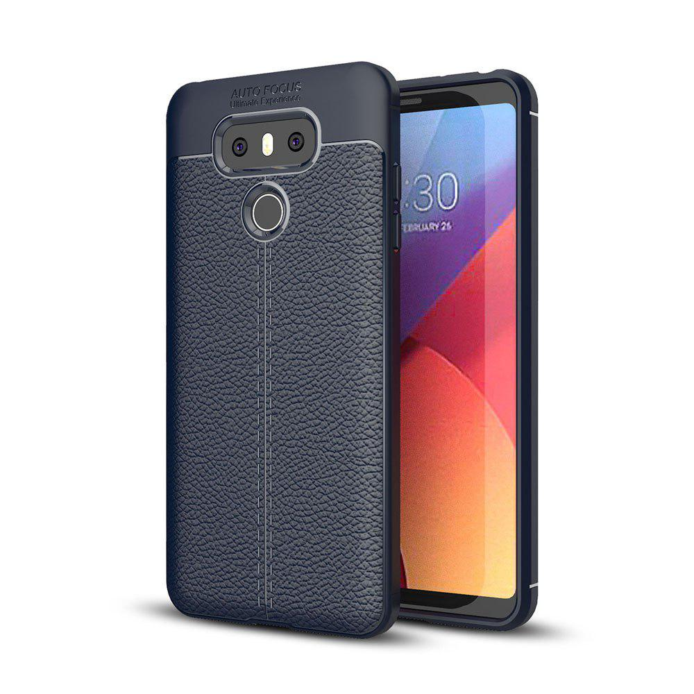 Shockproof Case for LG G6 Litchi Grain Anti Drop TPU Soft Cover - NAVY
