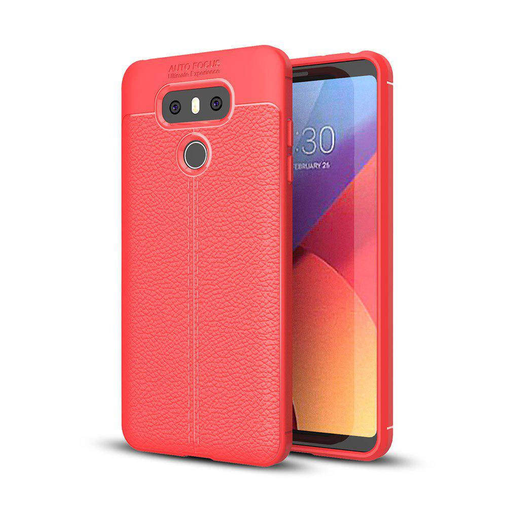 Shockproof Case for LG G6 Litchi Grain Anti Drop TPU Soft Cover - RED