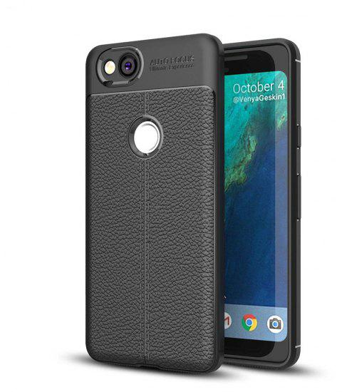 Shockproof Case for Google Pixel 2 Litchi Grain Anti Drop TPU Soft Cover - BLACK