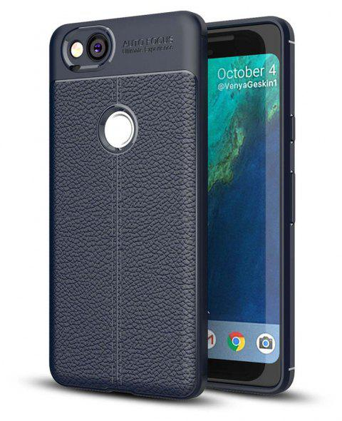 Shockproof Case for Google Pixel 2 Litchi Grain Anti Drop TPU Soft Cover - NAVY