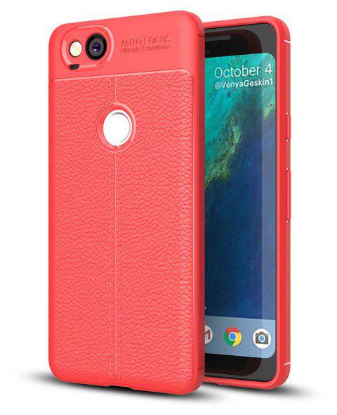 Shockproof Case for Google Pixel 2 Litchi Grain Anti Drop TPU Soft Cover - RED