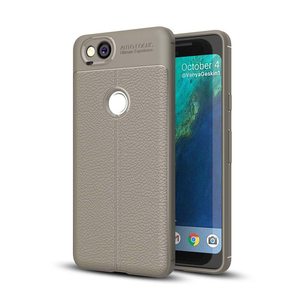 Shockproof Case for Google Pixel 2 Litchi Grain Anti Drop TPU Soft Cover - GRAY