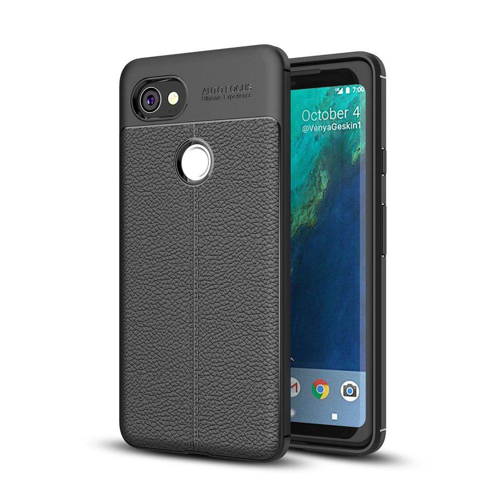 Shockproof Case for Google Pixel 2 XL Litchi Grain Anti Drop TPU Soft Cover - BLACK