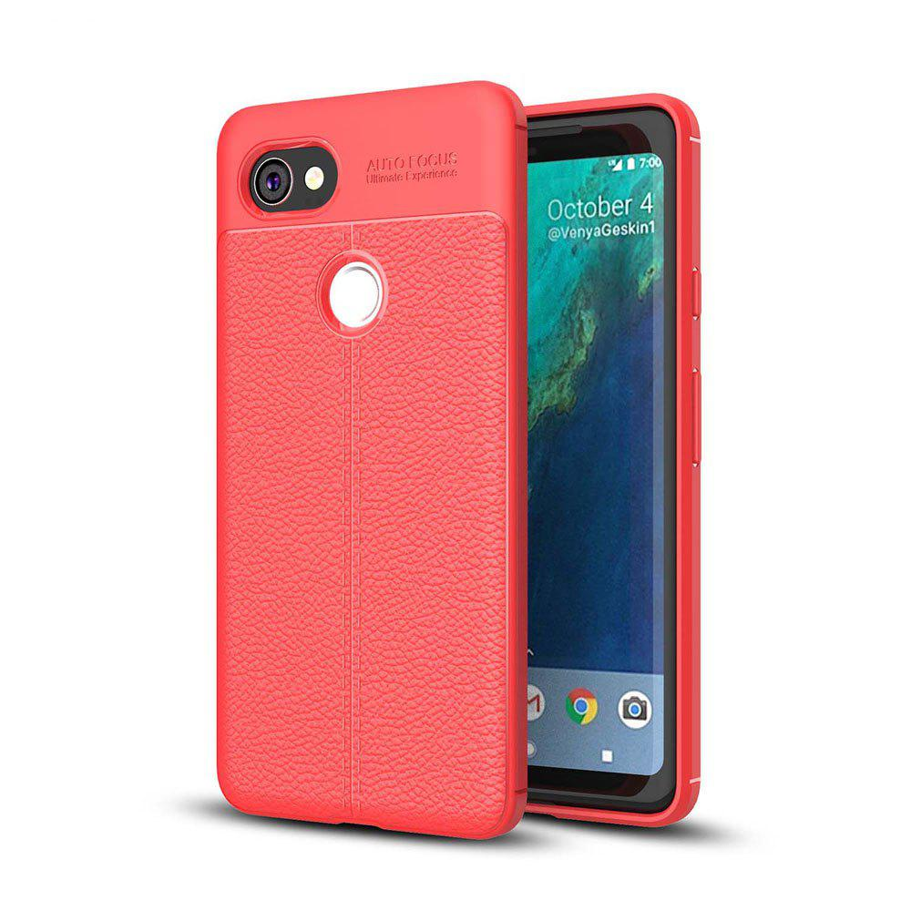 Shockproof Case for Google Pixel 2 XL Litchi Grain Anti Drop TPU Soft Cover - RED
