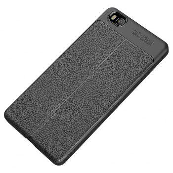 Shockproof Case for Huawei P8 Lite Litchi Grain Anti Drop TPU Soft Cover - BLACK