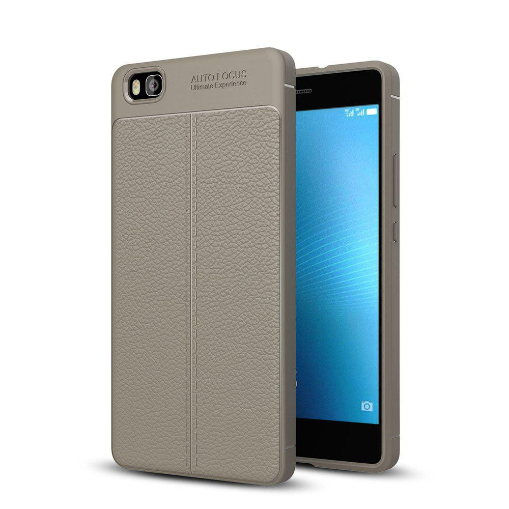 Shockproof Case for Huawei P8 Lite Litchi Grain Anti Drop TPU Soft Cover - GRAY