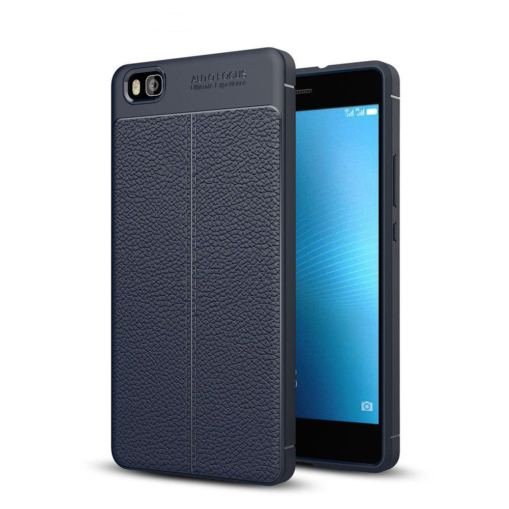 Shockproof Case for Huawei P8 Lite Litchi Grain Anti Drop TPU Soft Cover - NAVY