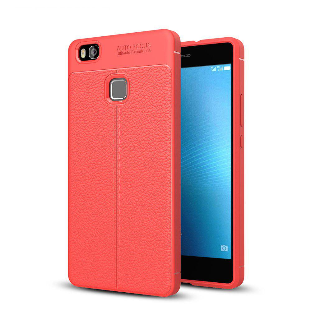 Shockproof Case for Huawei P9 Lite Litchi Grain Anti Drop TPU Soft Cover - RED