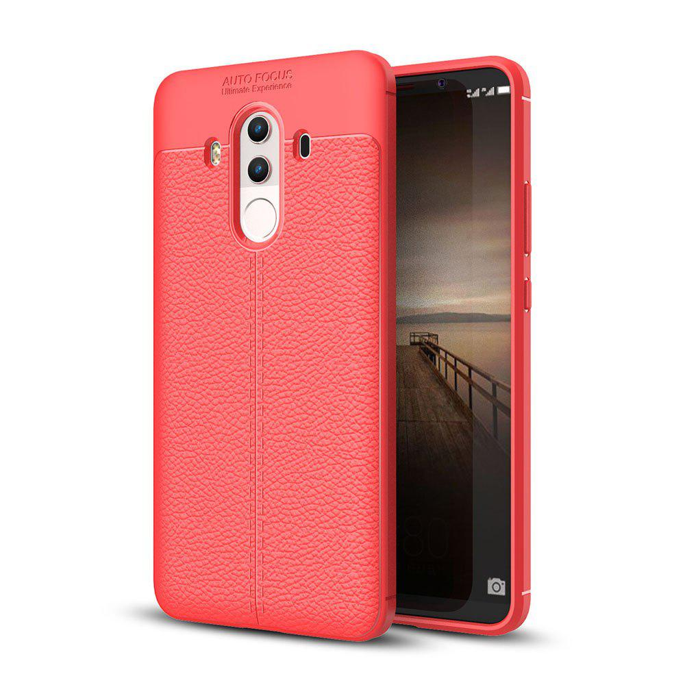 Shockproof Case for Huawei Mate 10 Pro Litchi Grain Anti Drop TPU Soft Cover - RED