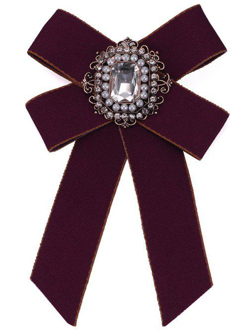 New Fashion Rhinestone Beads Bowknot Brooch Boutonniere Dual Use Temperament Cravat Tie for Lady - BURGUNDY