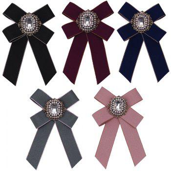 New Fashion Rhinestone Beads Bowknot Brooch Boutonniere Dual Use Temperament Cravat Tie for Lady - BLACK