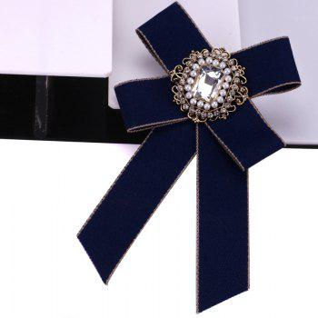 New Fashion Rhinestone Beads Bowknot Brooch Boutonniere Dual Use Temperament Cravat Tie for Lady - CADETBLUE
