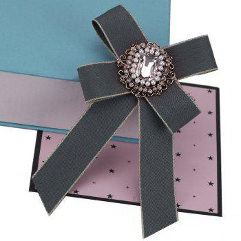 New Fashion Rhinestone Beads Bowknot Brooch Boutonniere Dual Use Temperament Cravat Tie for Lady - GRAY