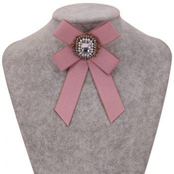 New Fashion Rhinestone Beads Bowknot Brooch Boutonniere Dual Use Temperament Cravat Tie for Lady - PINK