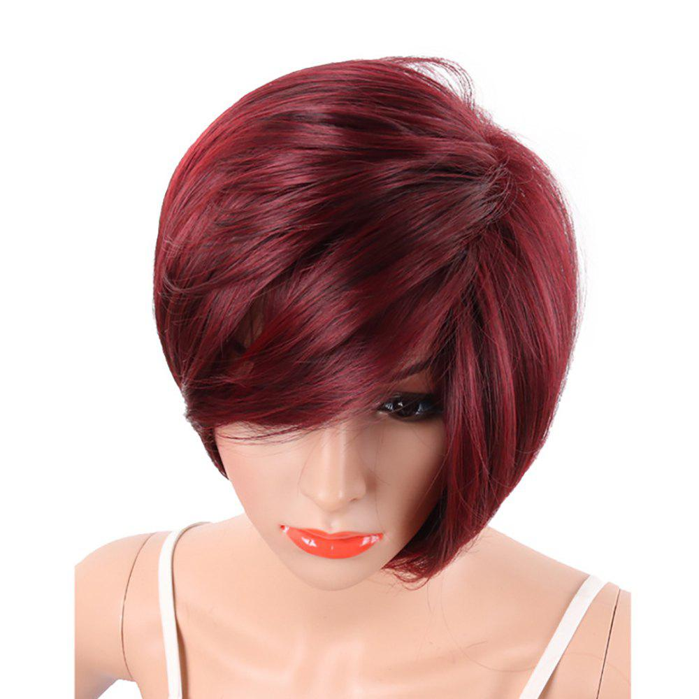 Wine Red Fashion Bob Style Short Straight Synthetic Hair Wigs for Women - WINE RED