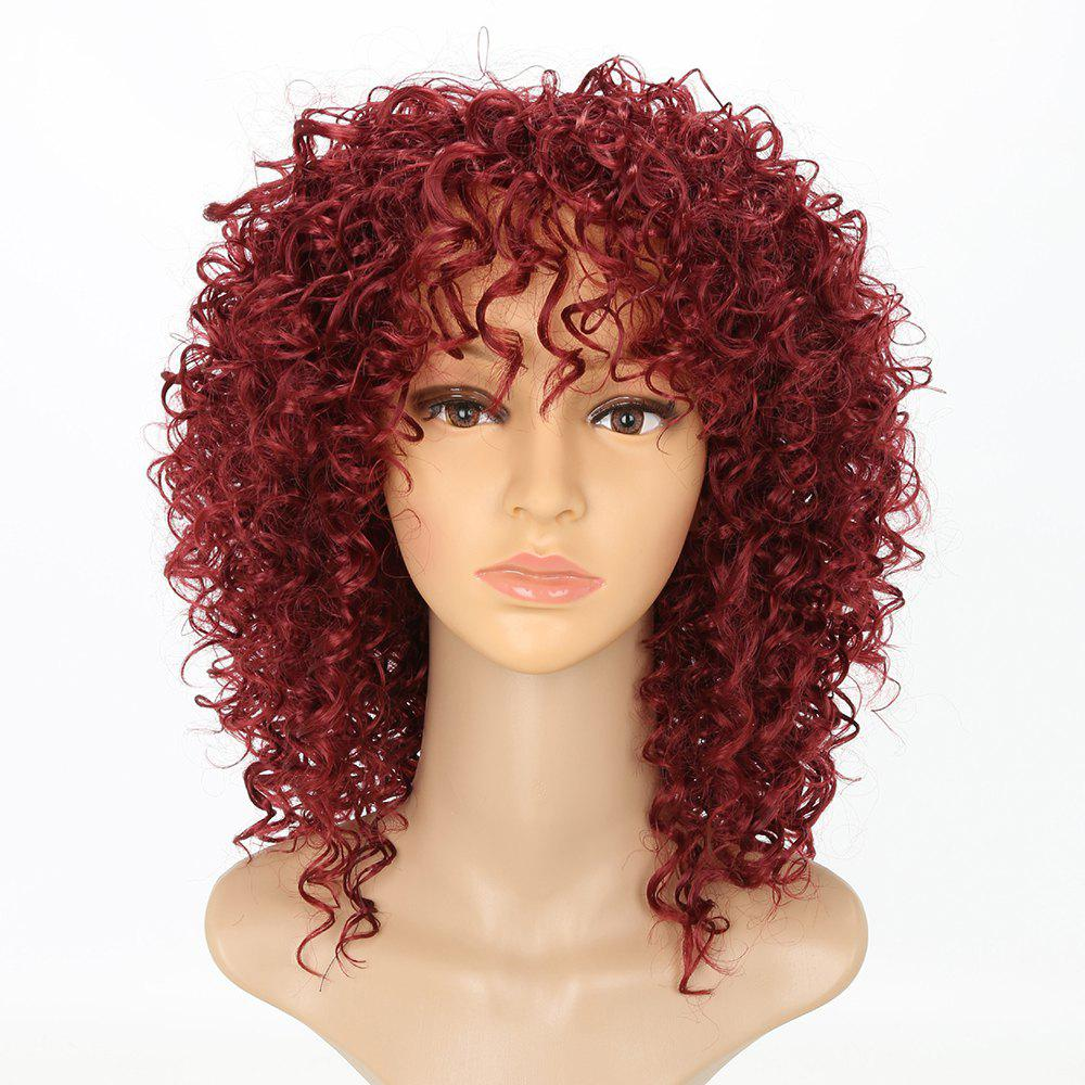 Chic Short Curly Hairstyle Wine Red Color African American Afro Kinky Synthetic Hair Wigs for Women - RED WINE 14INCH