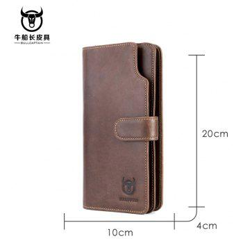 Niu captain Qian Baonan Real Leather Long Tie Youth Fallow Cowhide Multi Function Driver Card Coin Wallet - BROWN