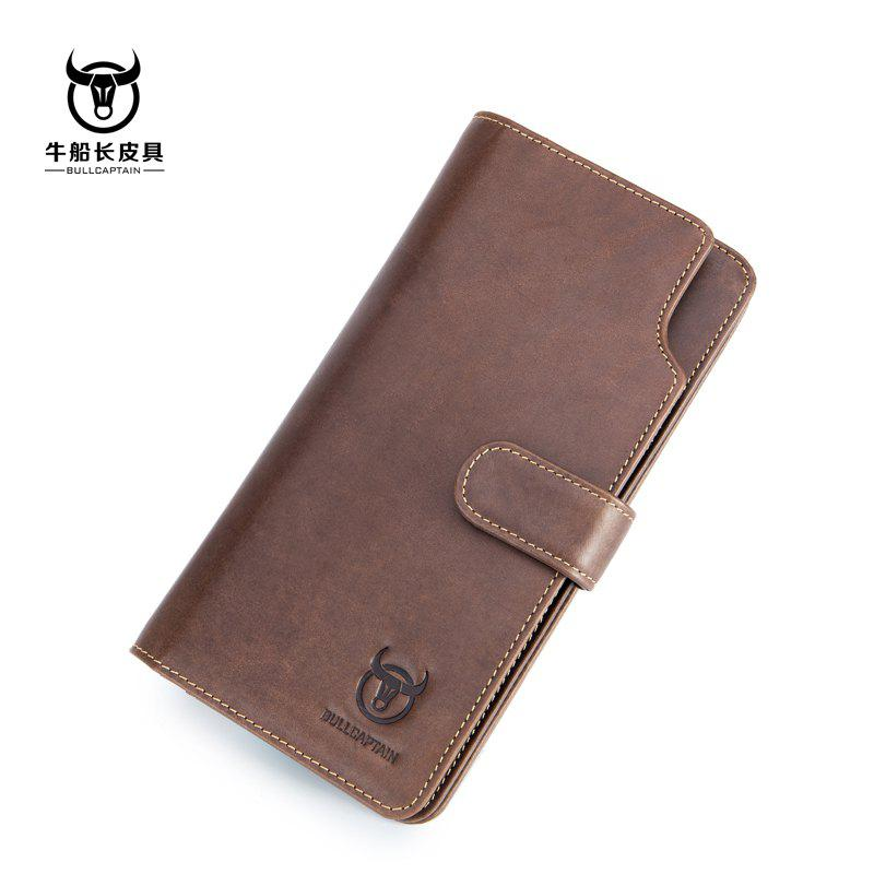 Niu captain Qian Baonan Real Leather Long Tie Youth Fallow Cowhide Multi Function Driver Card Coin Wallet - YELLOW