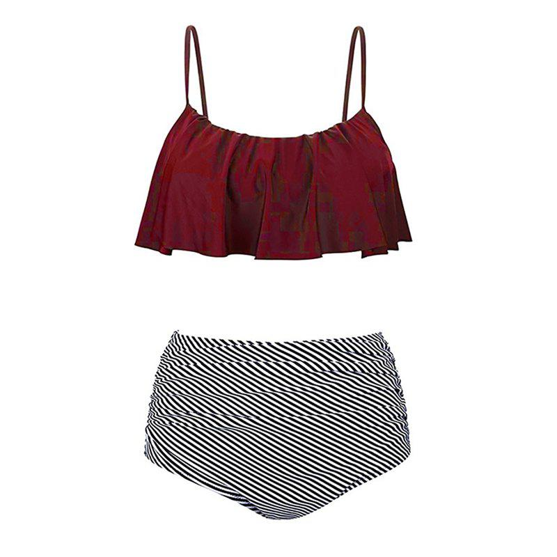 Sling Two Piece Set Swimsuit - BURGUNDY L