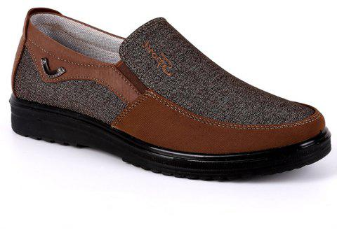 Men Large Size Breathable Anti-skid Loafers Cloth Shoes - BROWN 44