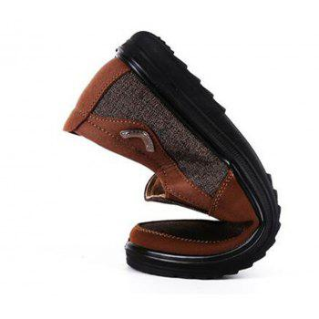 Men Large Size Breathable Anti-skid Loafers Cloth Shoes - BROWN 45