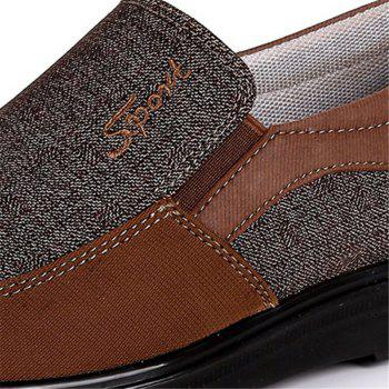 Men Large Size Breathable Anti-skid Loafers Cloth Shoes - BROWN 42
