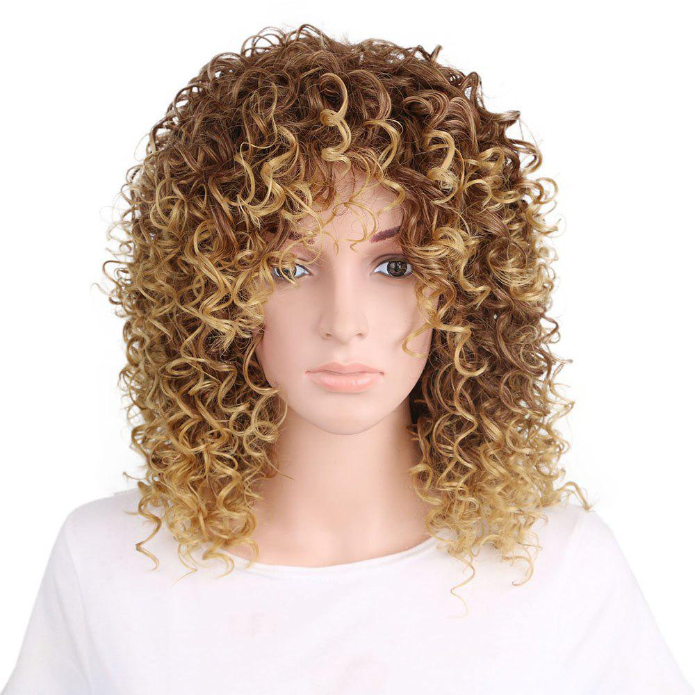 Golden Blonde Afro Curly High Temprature Fiber Synthetic Short Hair Wig for Fashion Girls - GOLDEN 12INCH