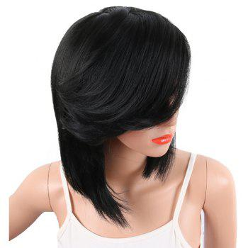 Black Color Medium Length Straight Hair Side Bang Synthetic Wig for Women - BLACK